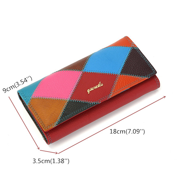Women Genuine Leather Clutch Long Wallet Casual Card Holder