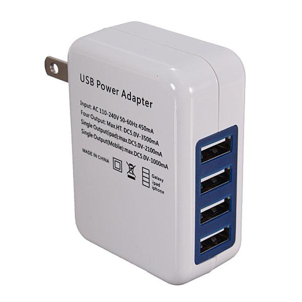 USB Adapter Universal Travel Wall Charger Adapter 4 Port USB Hub AC Power Adapter US/EU Plug