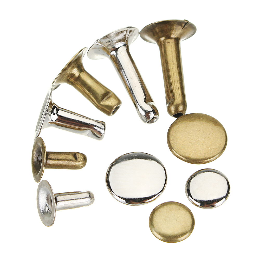 60Set Leather Repairing Tubular Metal Single Silver Bronze Rivet Fixing Kit Belt DIY Repair Decor