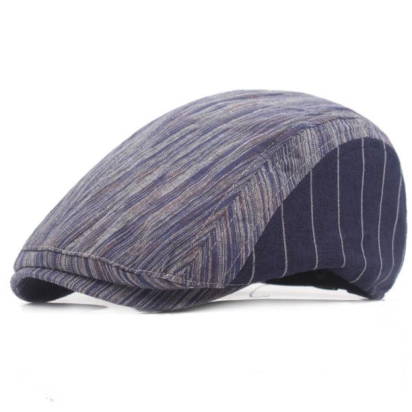Mens Women Cotton Beret Hat Stripe Buckle Adjustable Paper Boy Newsboy Cabbie Golf Gentleman Cap