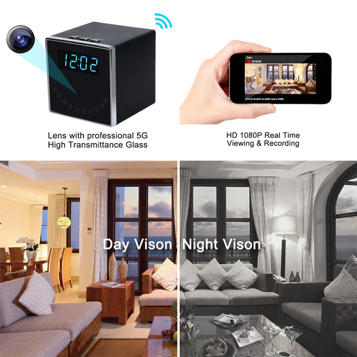 HD 1080P WiFi Wireless Hidden Camera Clock Home Security Camera Night Vision