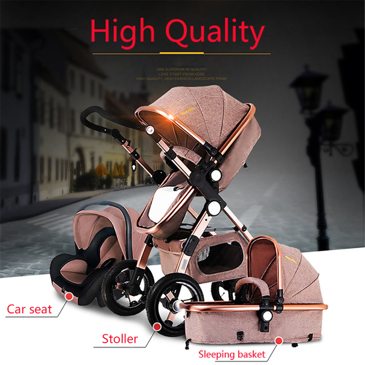 Banggood 3 IN 1 Multifunction Baby Stroller High View Pram Foldable Pushchair Bassinet Car Seat