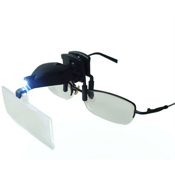 MG19157-2 1.5X 2.5X 3.5X LED Light Eye Glasses Low Vision Clip Magnifying Glass Loupe with LED Light