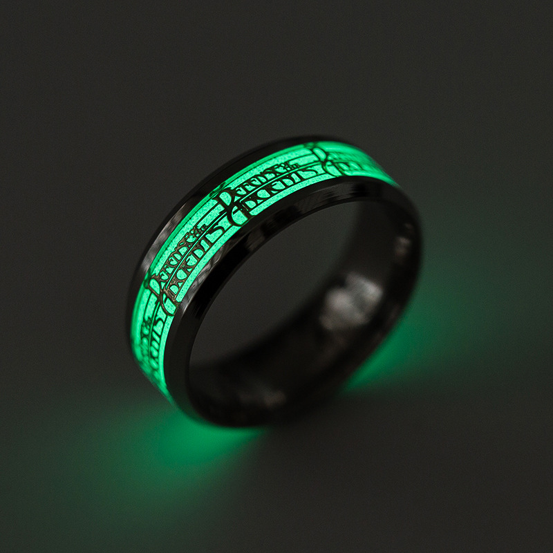 Luminous Titanium Steel Finger Ring Punk Personality Ring for Men