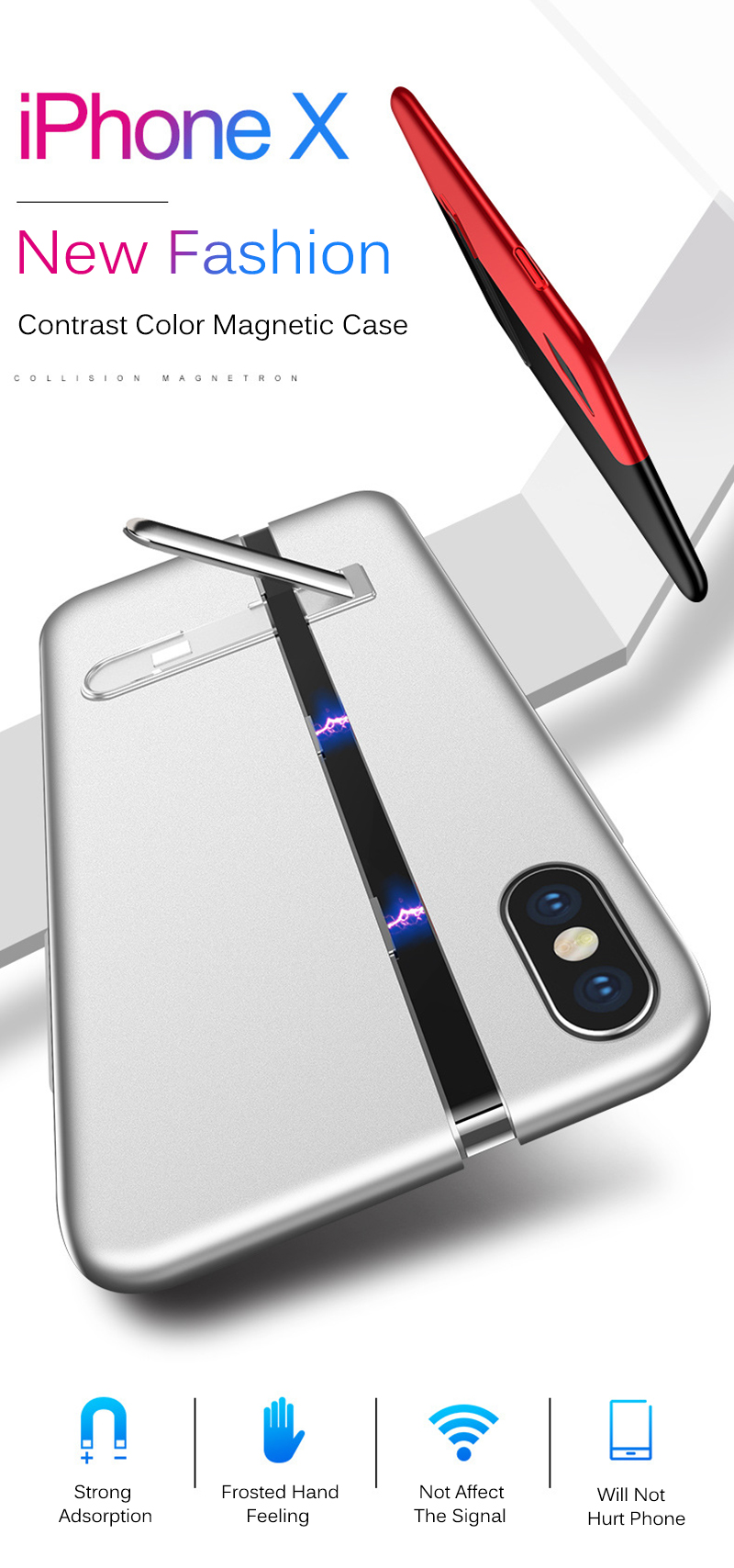 Bakeey Splice Magnetic Adsorption Kickstand Protective Case For iPhone X 0.8mm Slim Hard PC Cover