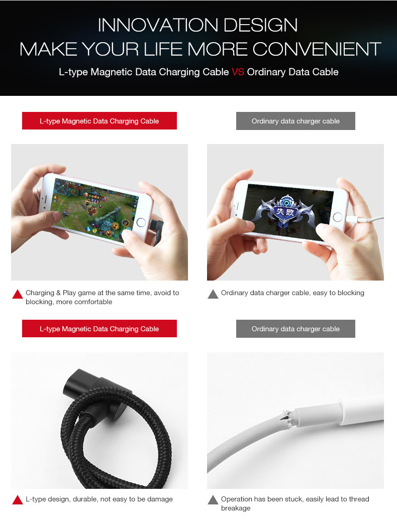 YAOMAISI Q13-Micro 90 Degree 2.4A Micro USB Braid Magnetic Phone Cable for Samsung Xiaomi Huawei