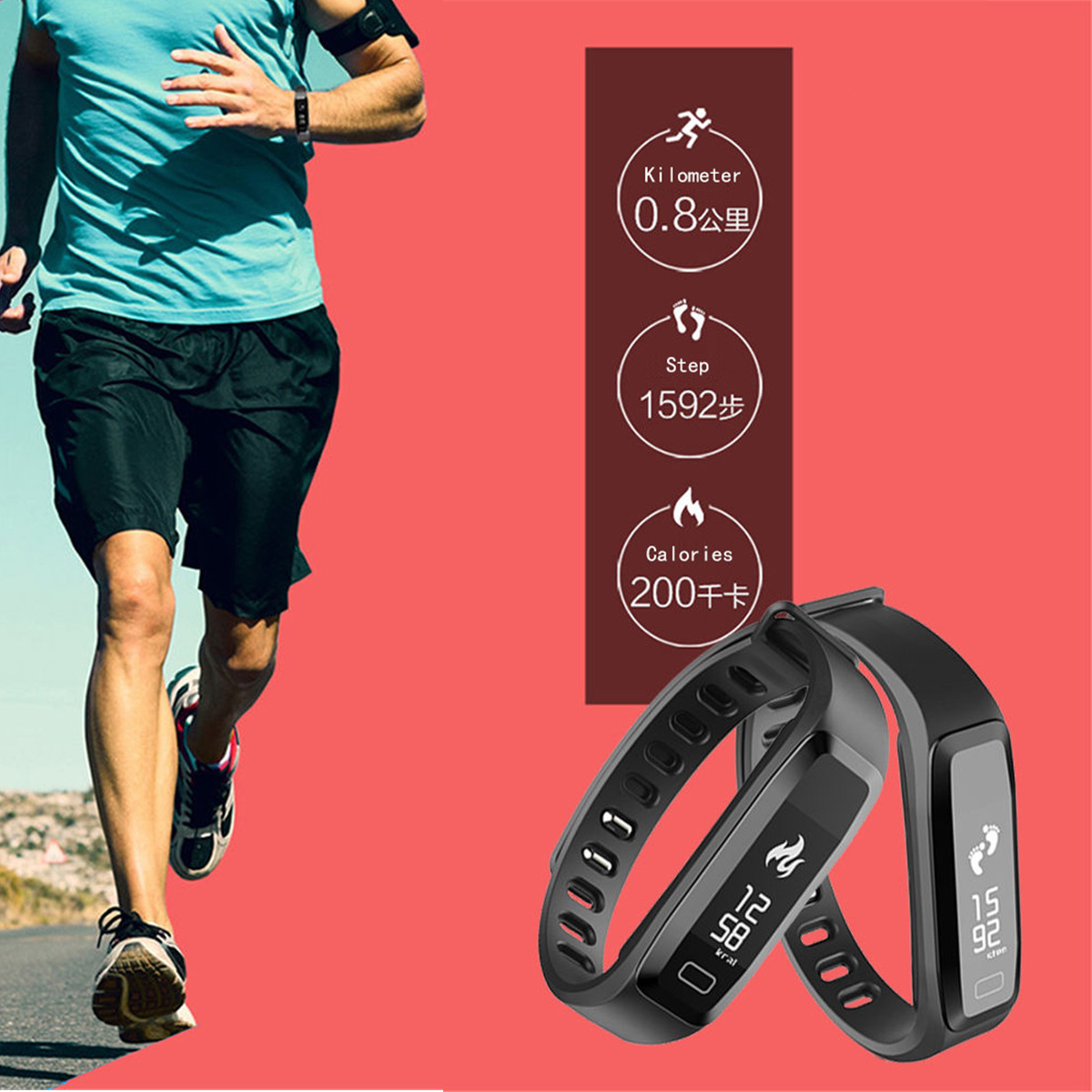 G15 HD OLED Blood Pressure Heart Rate Monitor Sports Fitness Tracker Smart Wristband