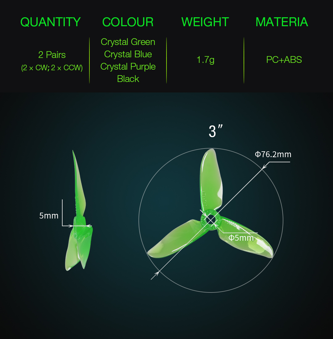 2 Pairs Dalprop Cyclone T3056C 3056 3-blade Propeller for RC Drone FPV Racing Multi Rotor