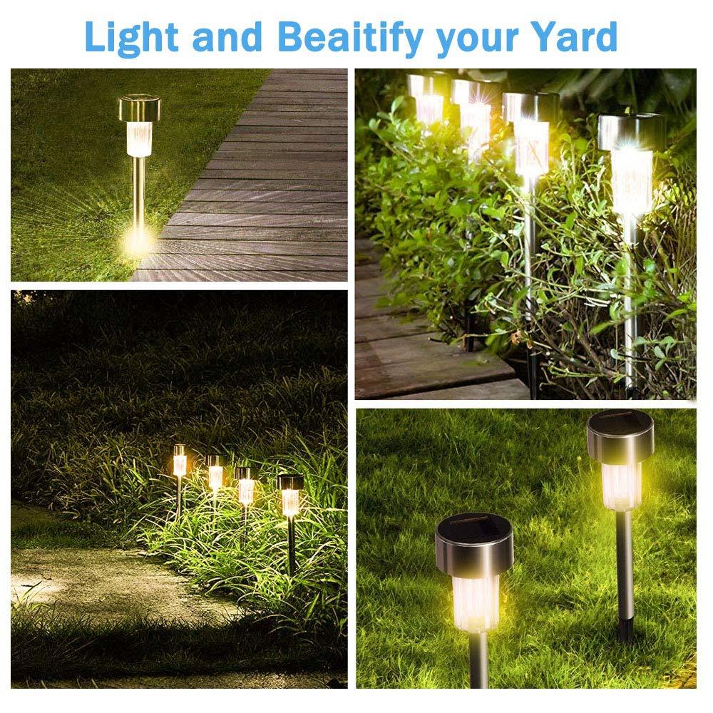 16pcs Outdoor Stainless Steel LED Solar Power Lawn Light Garden Landscape Lamp