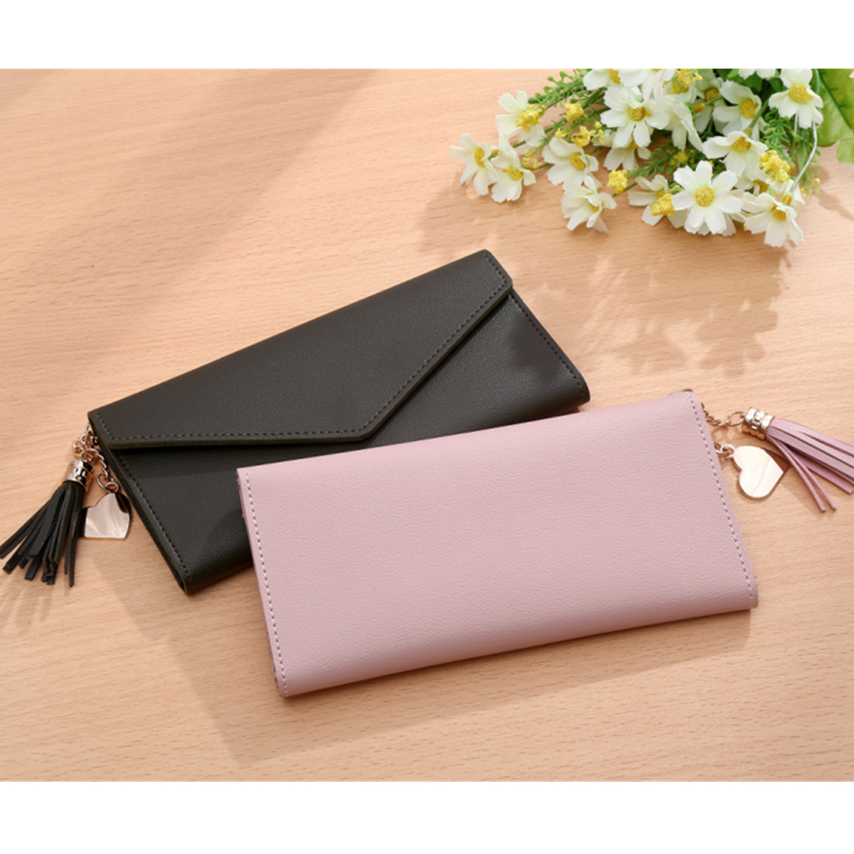 Women Long Purse Multi Card Slots PU Leather Phone Wallet Envelope Clutch Bags