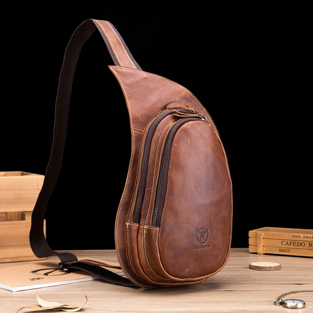 Bullcaptain Genuine Leather Drop-Shaped Crossbody Bag