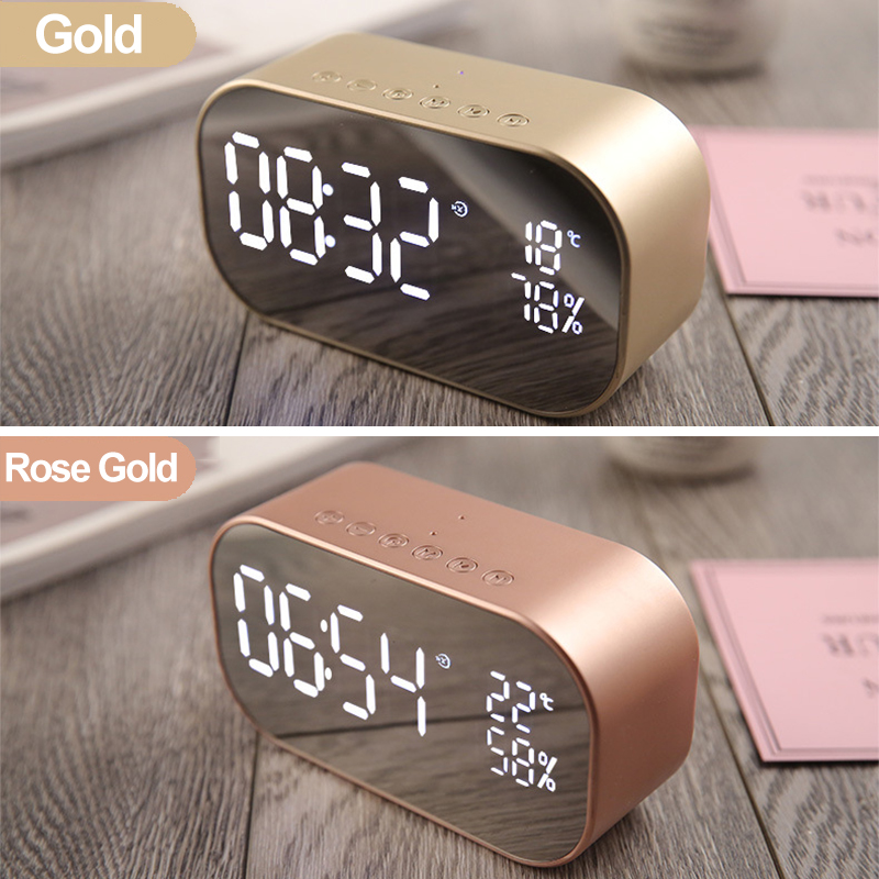 Portable LED Wireless bluetooth Speaker Dual Units FM Radio Alarm Clock USB Micro SD TF AUX Speaker