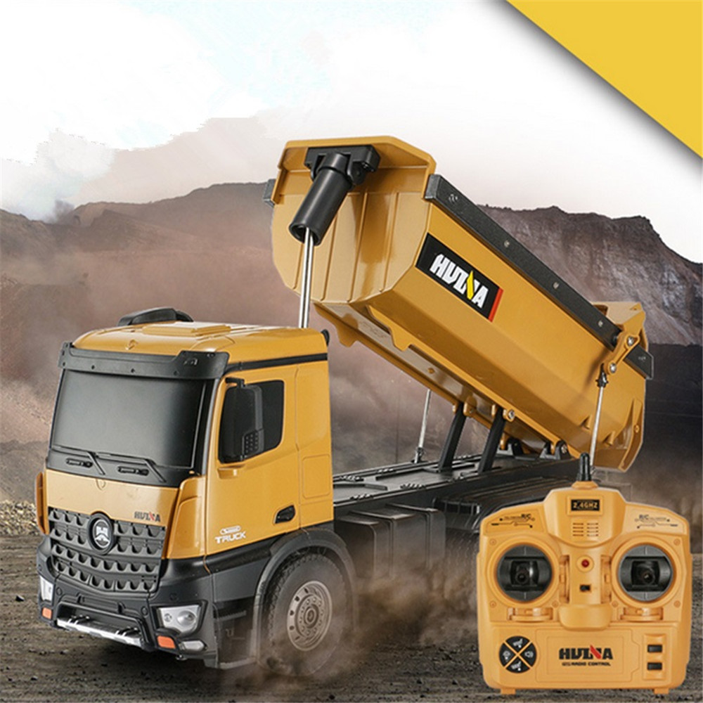 HuiNa 1573 RC Car 1/14 Trucks Metal Bulldozer Charging RTR Truck Construction Vehicle Kids Toys