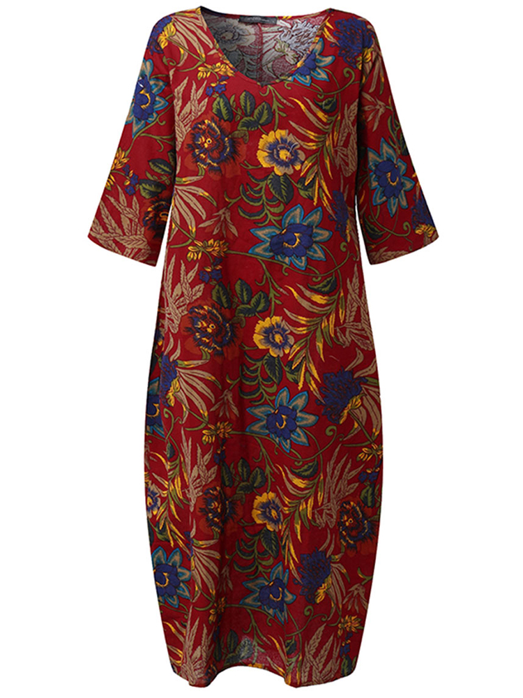 Women Loose Cotton Linen Retro Printing 3/4 Sleeve Dress