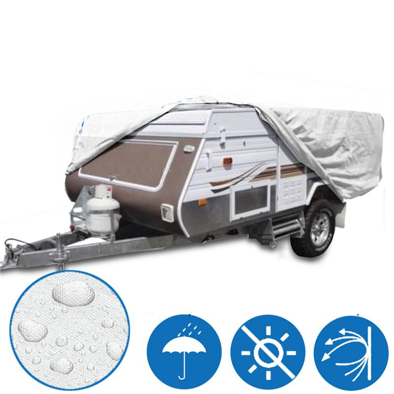 4.2x 2.2x 1.35m Outdoor Camping Trailer Waterproof Cover Sun Rain Dust Anti-UV Campervan Protector