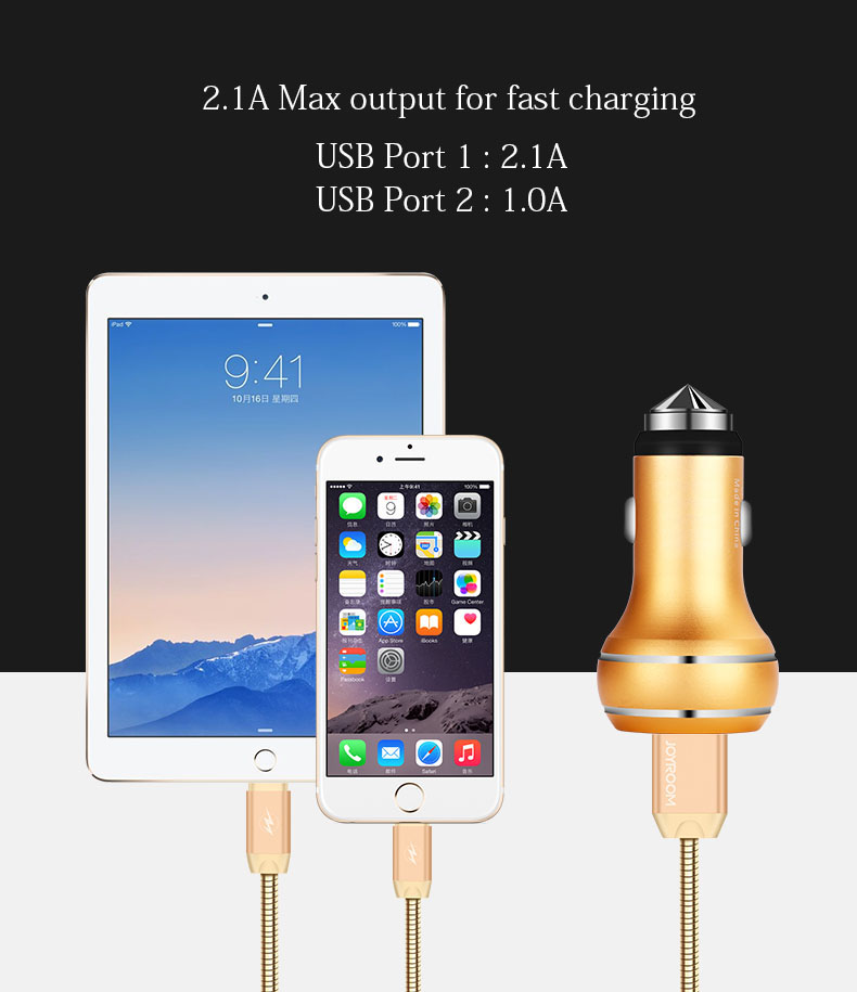 Joyroom C-M306 3.1A Dual USB Metal Car Charger for iPhone 7 6S Sumsung Xiaomi Huawei