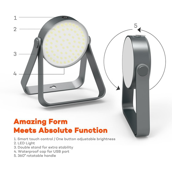 5W Portable Rechargeable LED Outdoor Camping Lantern Waterproof IP65 Emergency Work Light