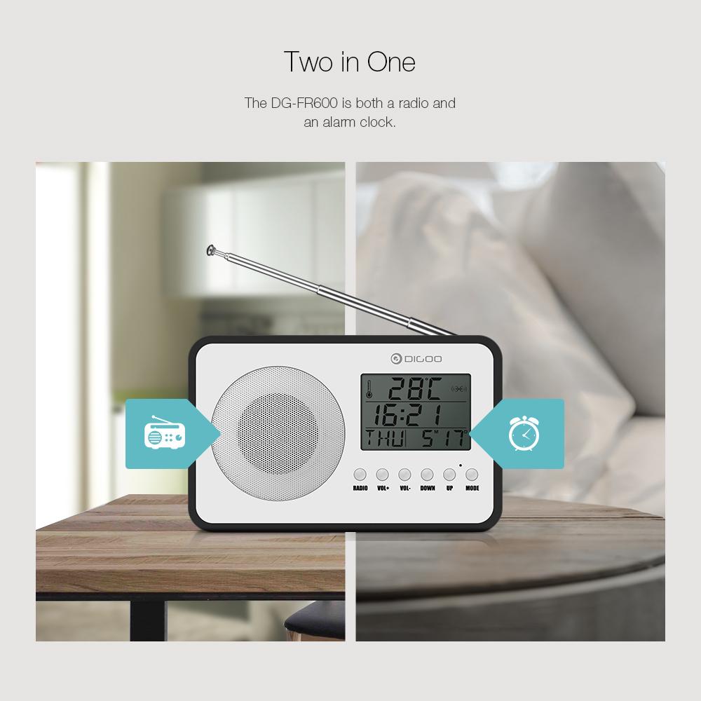 [2019 Third Digoo Carnival] Digoo DG FR600 SmartSet Wireless Wood Grain Vintage Digital FM Radio Alarm Clock Subwoofer Sound with Temperature Display