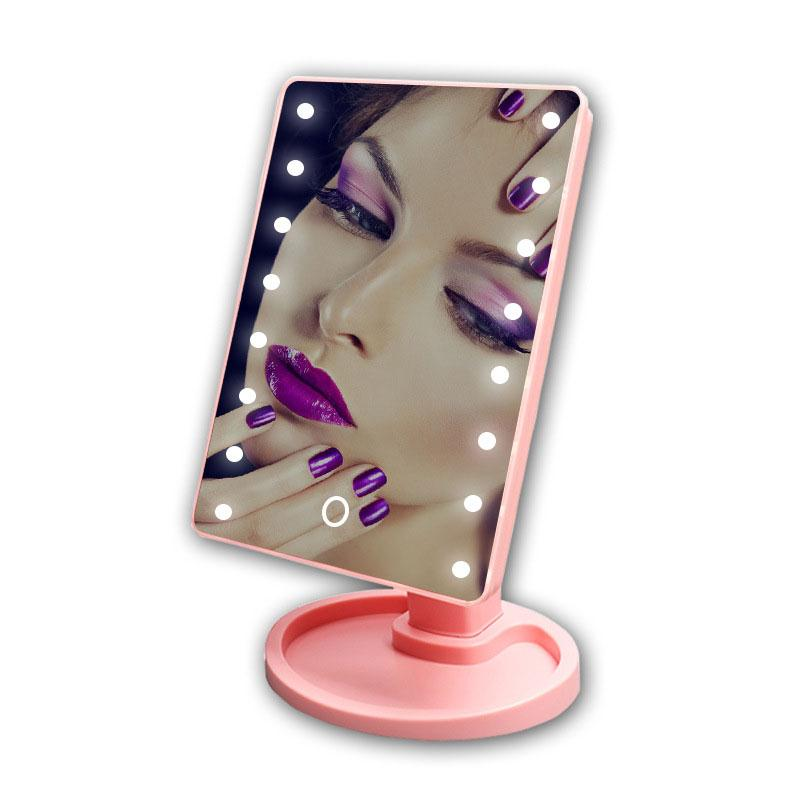 Touch Screen Cosmetic Mirror 16 LED Light Makeup Tool Adjustable 360 Degree Rotation Vanity Mirrors