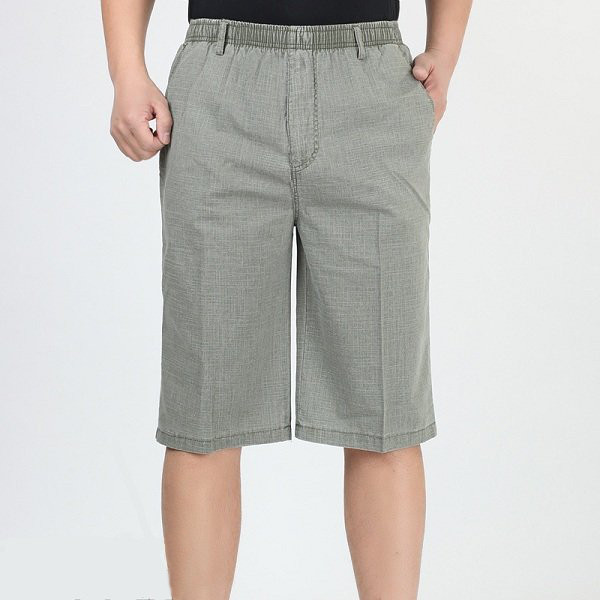 Summer Thin Elastic Waist Linen Cotton Loose Mens Solid Color Knee-Length Casual Shorts