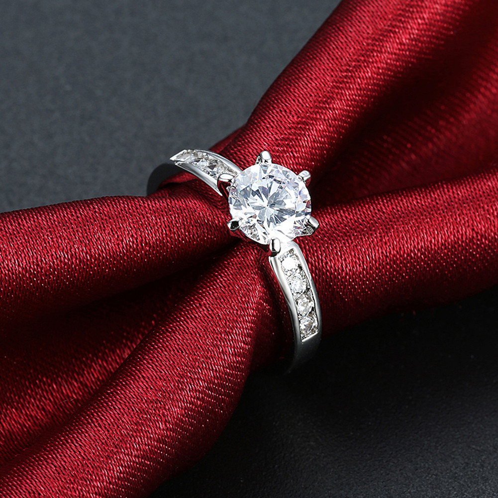 INALIS Zircon Platinum Plated Engagement Gift Wedding Finger Rings