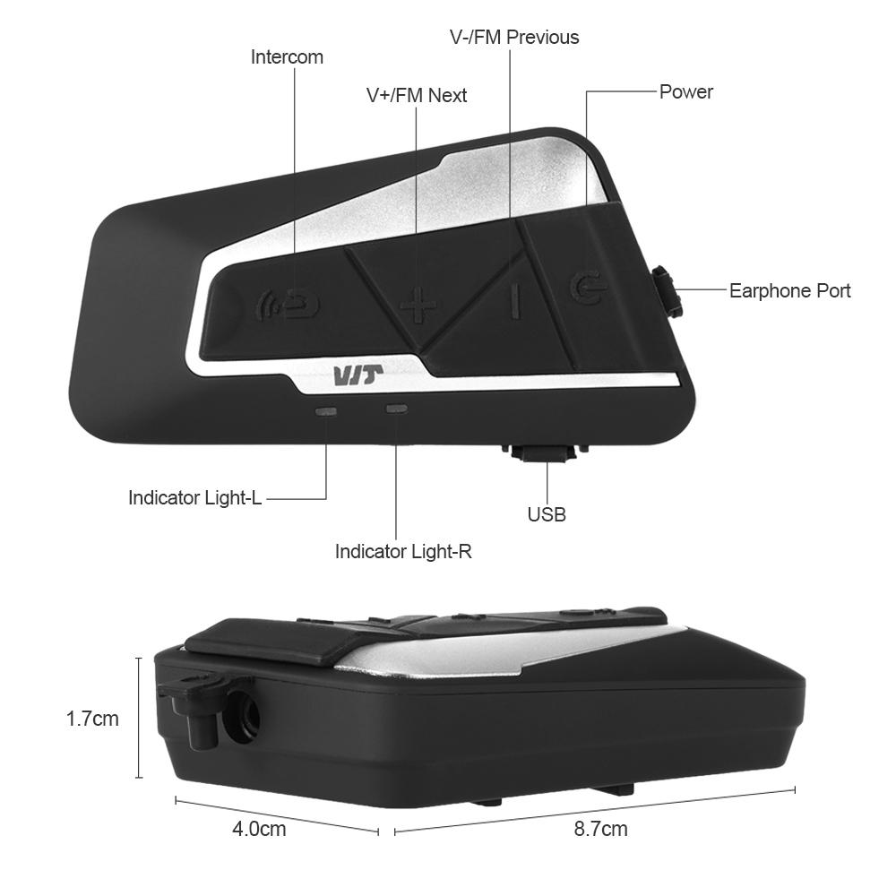 T9S 1000m Motorcycle BT Helmet Intercom Waterproof A2DP FM Radio Headset