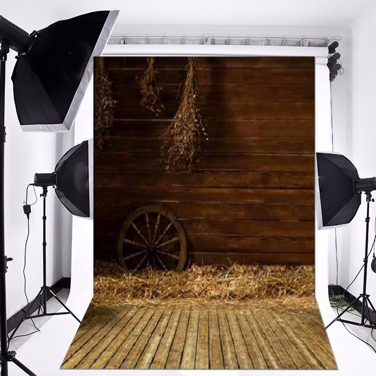 3x5FT Vinyl Photography Backgrounds Wooden Wall Wheel Straw Backdrops Photo Prop