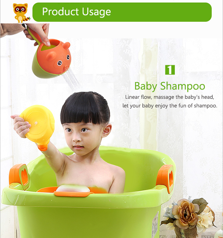 Vvcare BC-K58 Plastic Baby Kids Cute Cat Shampoo Cup Colorful Bath Shower Cup Baby Washing Head