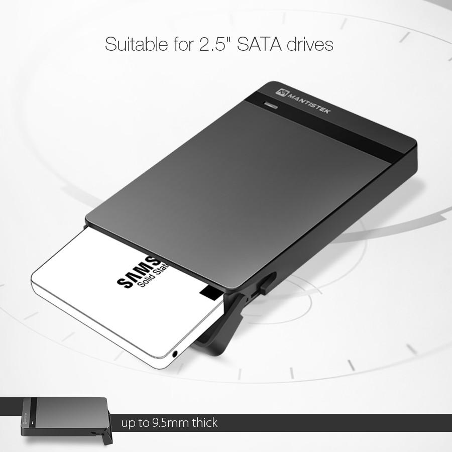 MantisTek® Mbox2.5 USB 3.0 SATA III HDD SSD Hard Drive Enclosure External Case Support UASP 23