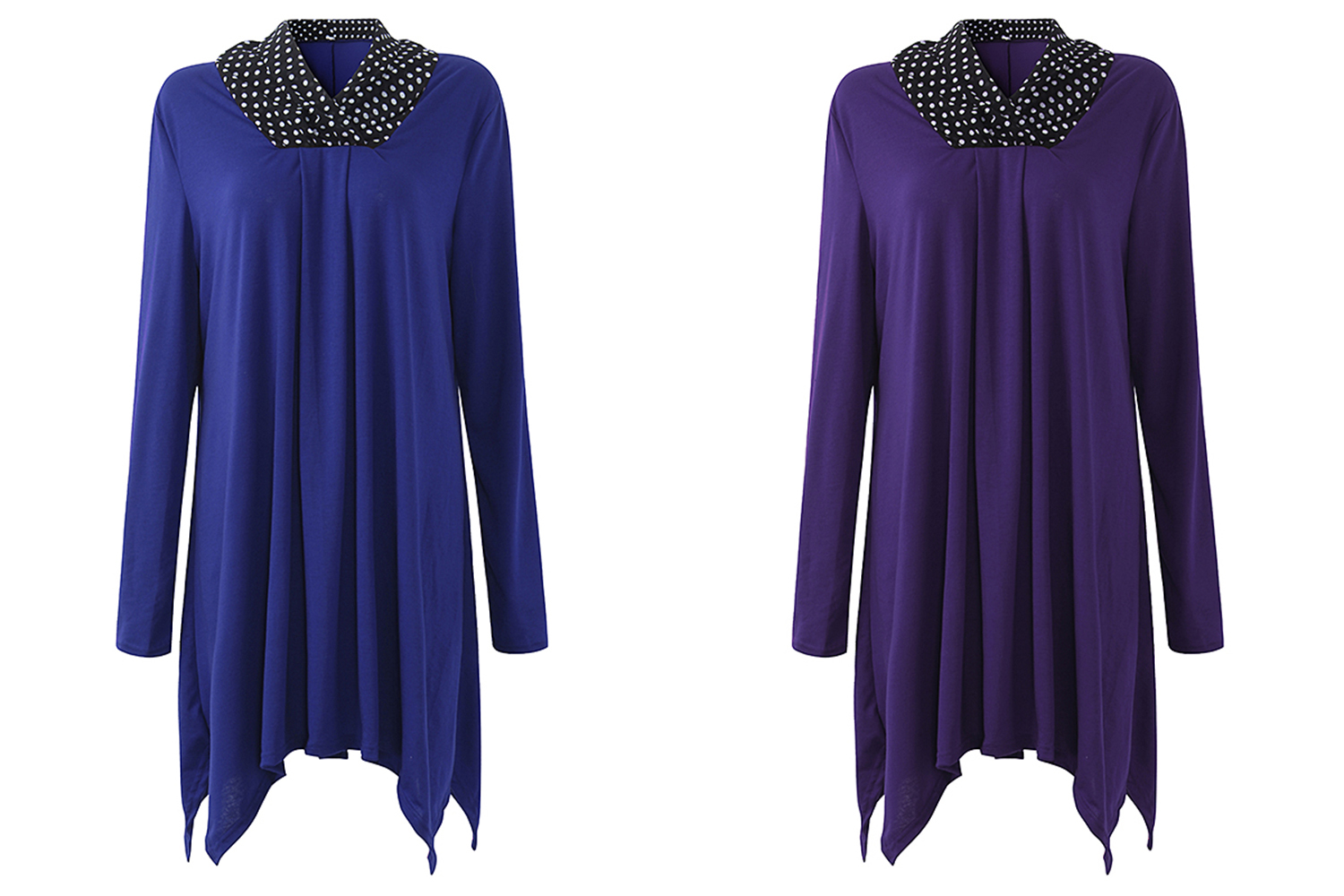 Casual Women Dot Cowl Collar Pleated Asymmetric Blouse