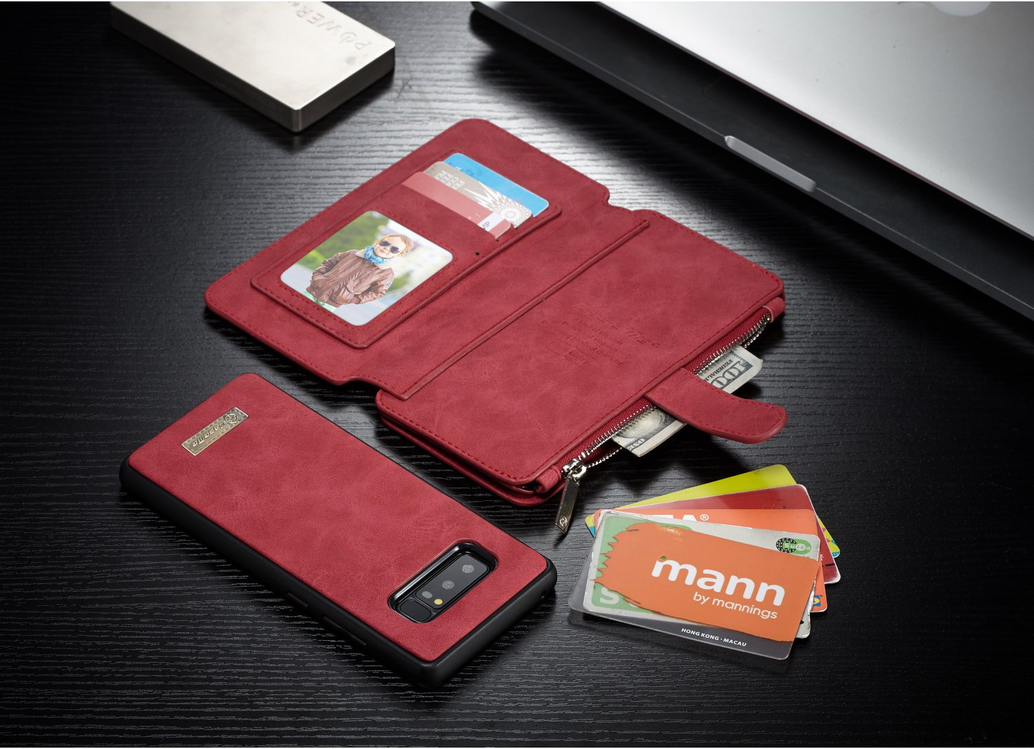 Caseme Magnetic Detachable Zipper Wallet Card Slot Pocket Case For Samsung Galaxy Note 8