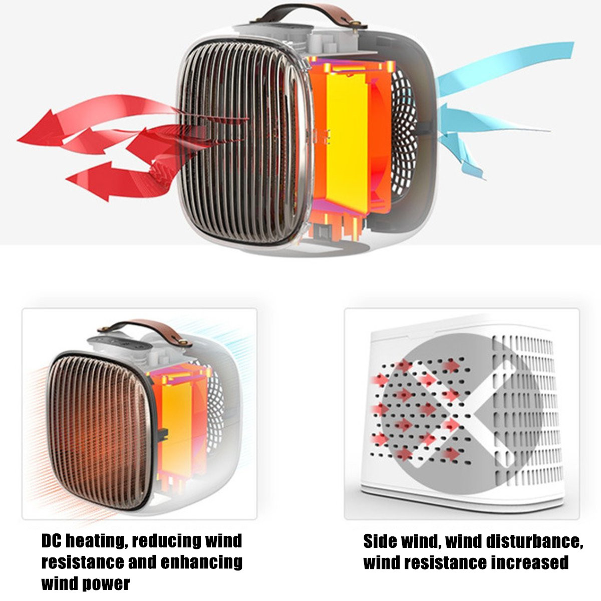 220V 1000W Portable Air Heater Fan Warmer Black/White/Red/Orange Overheat Protection