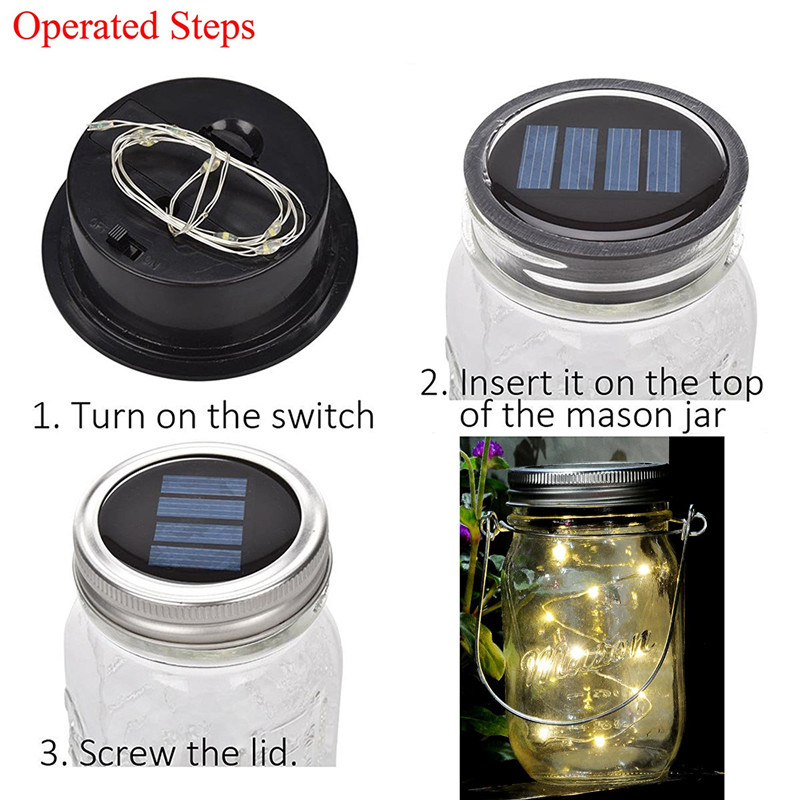 Solar Powered 1M 10LEDs Mason Jar Lid Insert Fairy String Light for Garden Christmas Party
