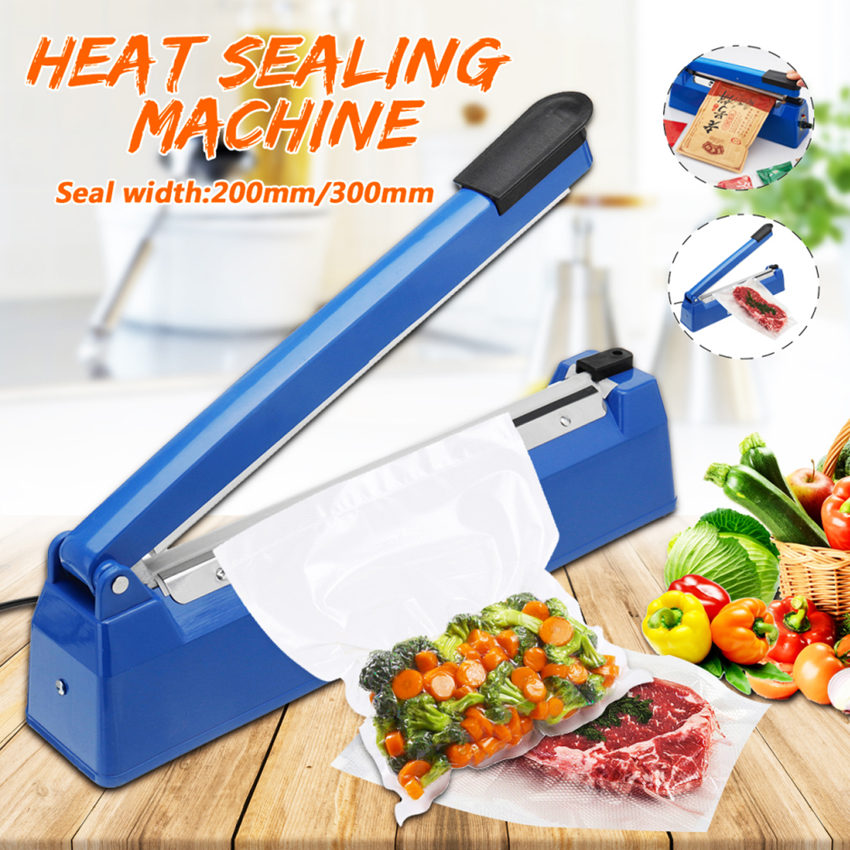 220V 50/60HZ Impulse Manual Hand Heat Sealer 8 Levels Adjustable Heat Sealing Machine