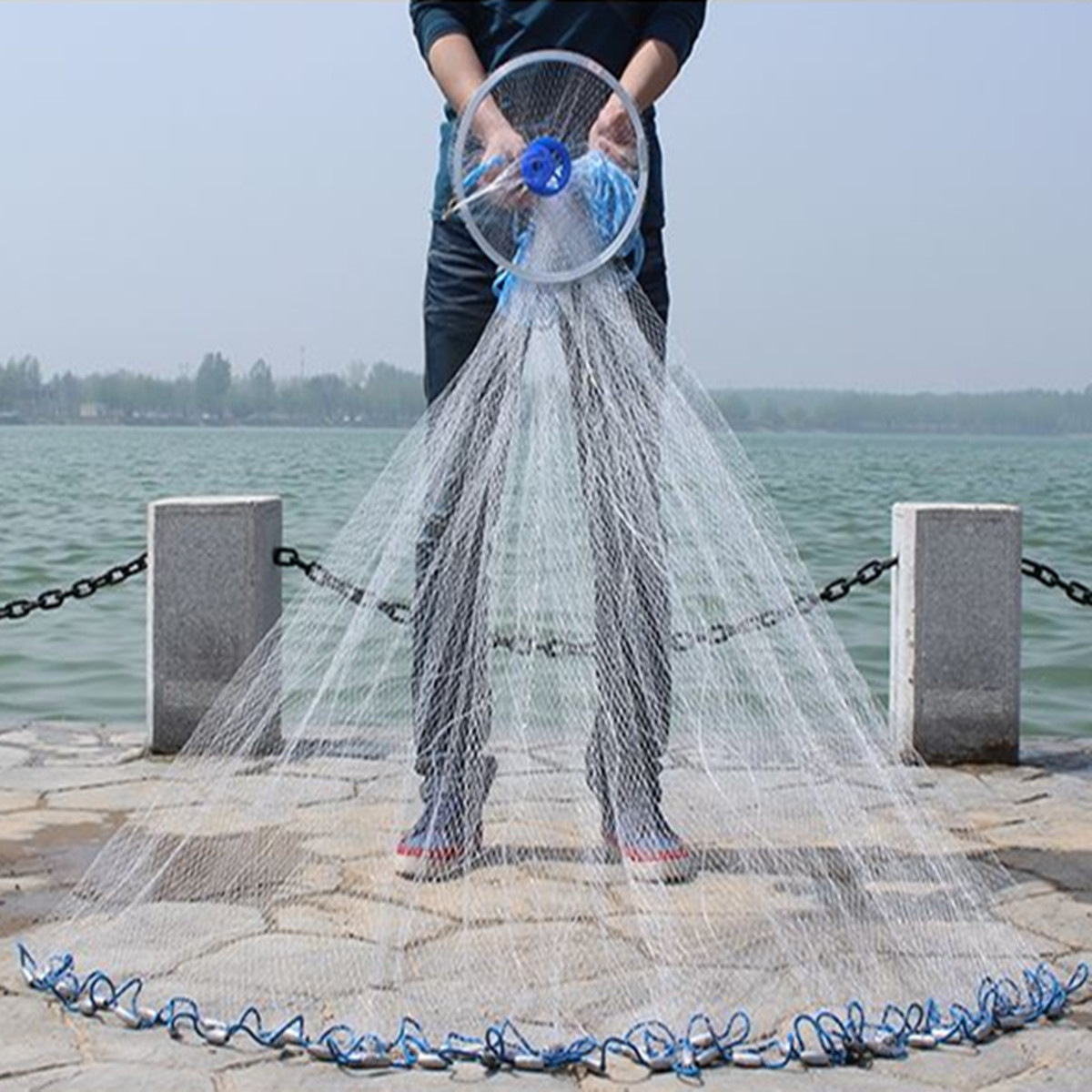 ZANLURE 2.4M/3.6M Throw Cast Net Nylon Monofilament Net Iron Nickel Plating Sinker Sea Fishing Net