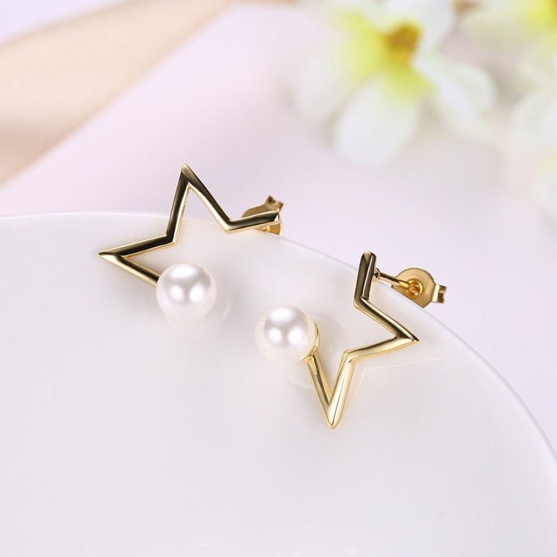 INALIS Pearl Gold Plated Earrings Star Copper Ear Stud