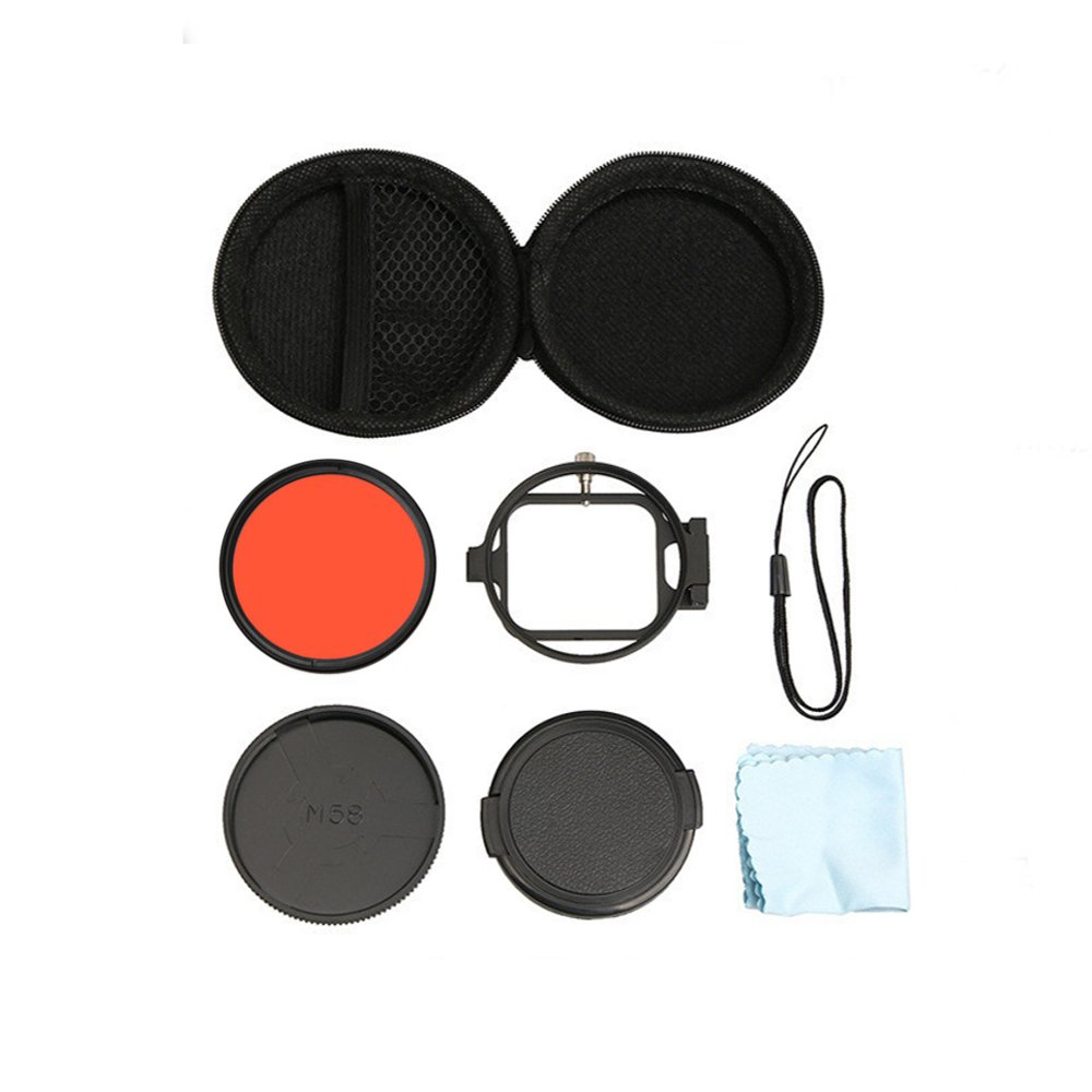 58mm 16x Magnifier Macro Red Camera Lens Filter Adapter Ring For GoPro Hero 5