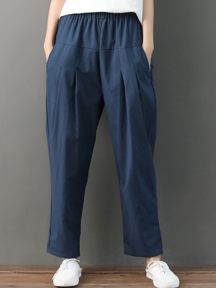 Casual Solid Color Pleated Pockets Cotton Linen Harem Pants