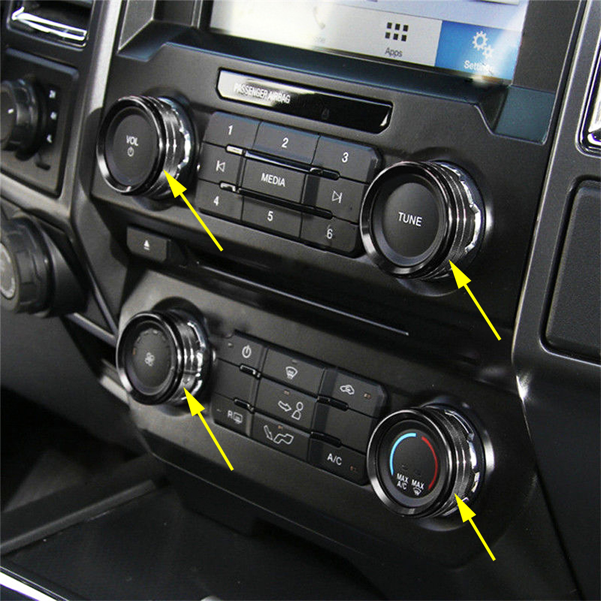 4pcs Car Audio Stereo Knob Ring Air Conditioner Switch Button Cover Trim Volume Control Ring