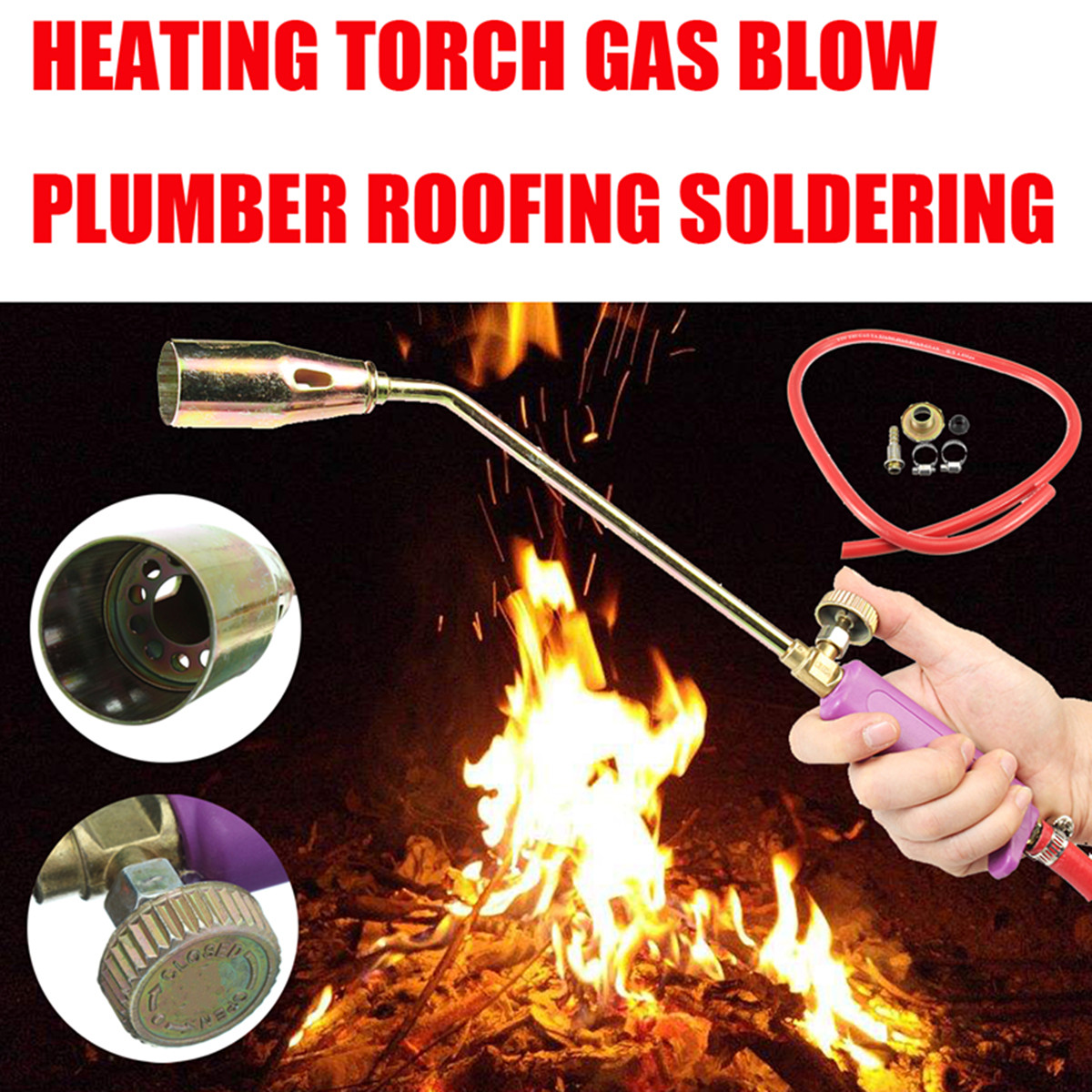 35Type Durable Steel Nozzle Propane Torch Roofing Soldering Heating Gun Flame Torch