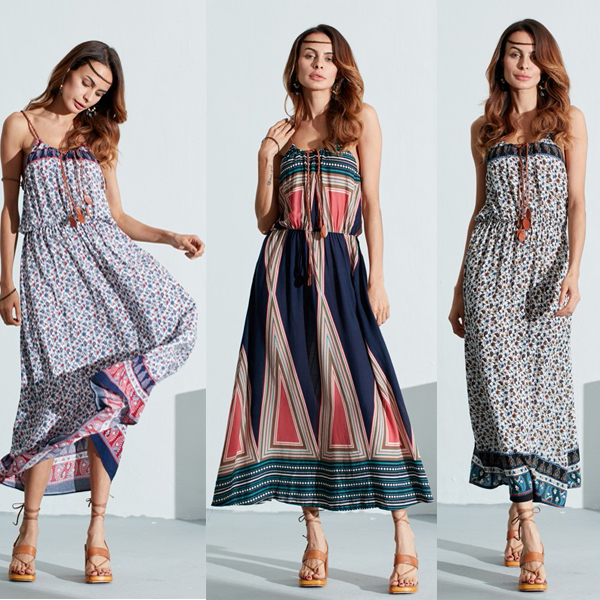 Bohemian Women Sleeveless Floral Print Beach Long Maxi Summer Dresses