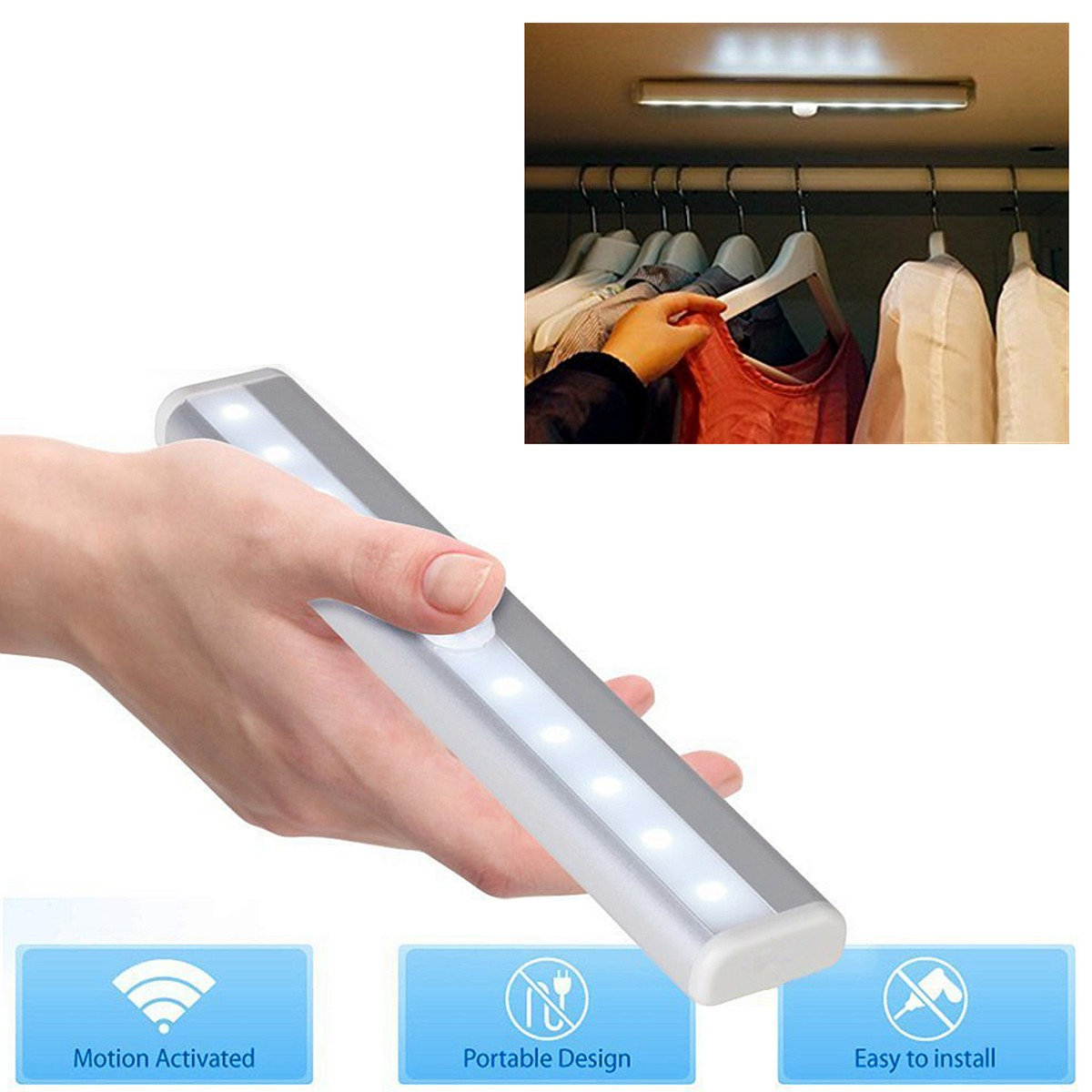 Battery Powered 10 LED Wireless PIR Motion Sensor Detector Night Light Wall Lamp