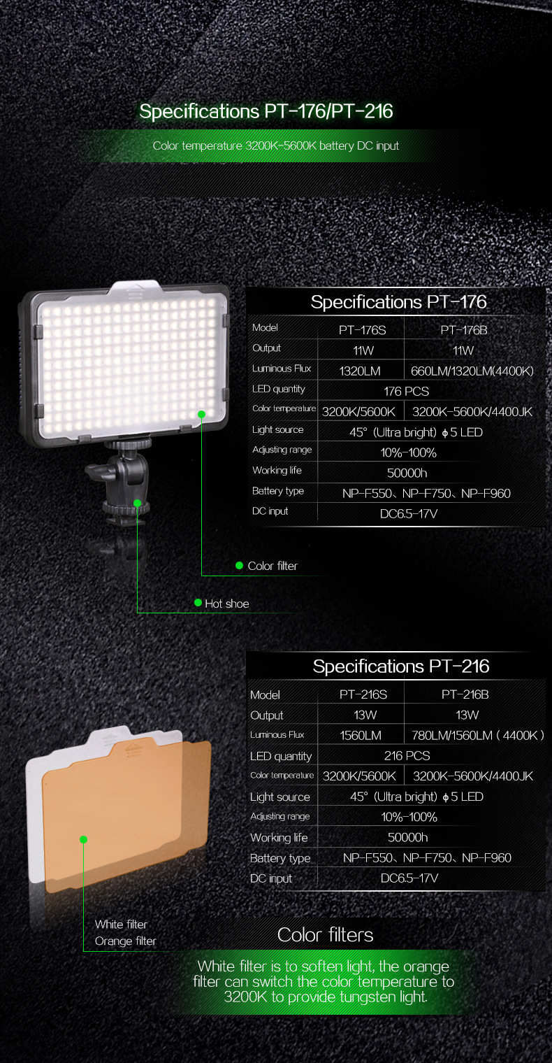 TOLIFO PT-176S LED Camera Video Light Bi-color Temperature Adjustable Photography for DSLR Camera