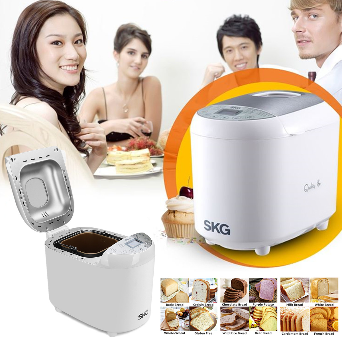 SKG Automatic Bread Machine Nonstick Coated 2LB Beginner Friendly Programmable Bread Maker
