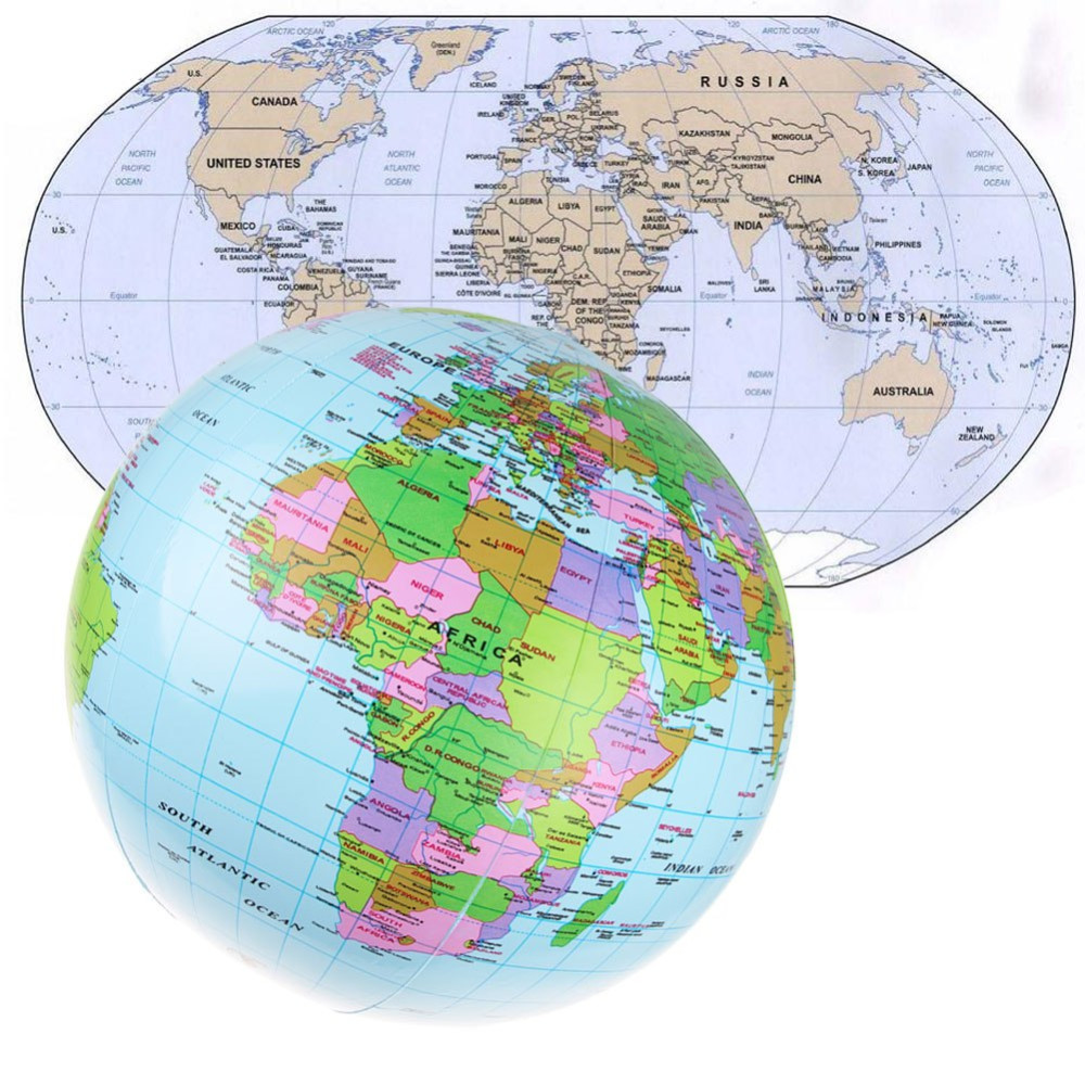 IPRee™ 40cm Inflatable World Globe Map Balloon Beach Play Toys Teach Education Geography Tools