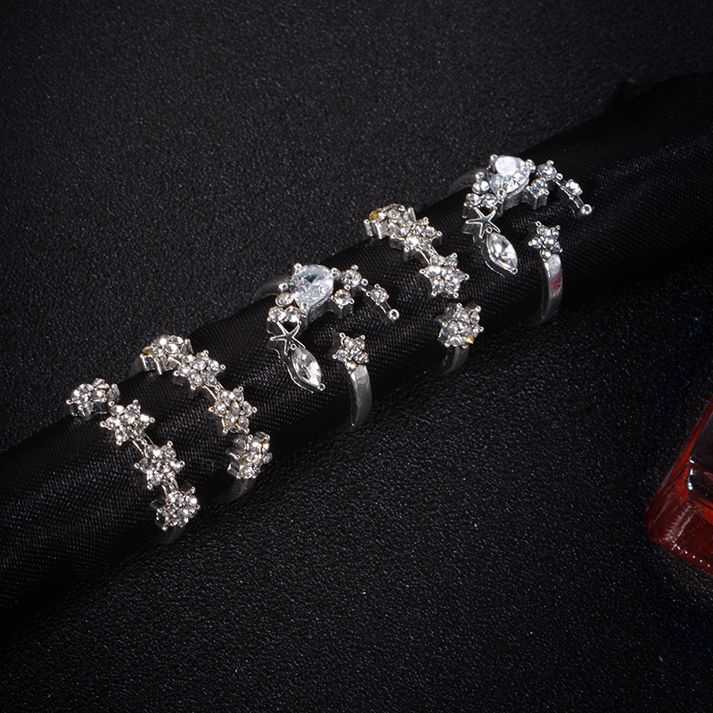 5Pcs Fashion Ring Sets Bohemian Finger Ring Simple Moon Star