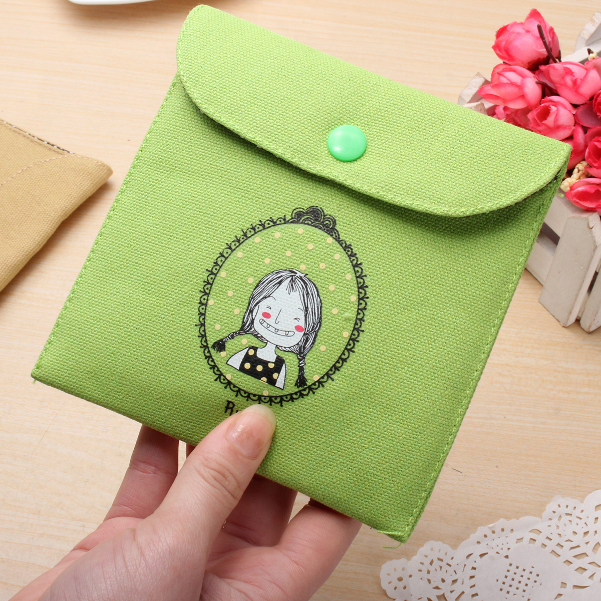 Girl Portable Sanitary Napkin Storage Bag Cotton Diaper Organizer Package Pouch Cute Coin Bag