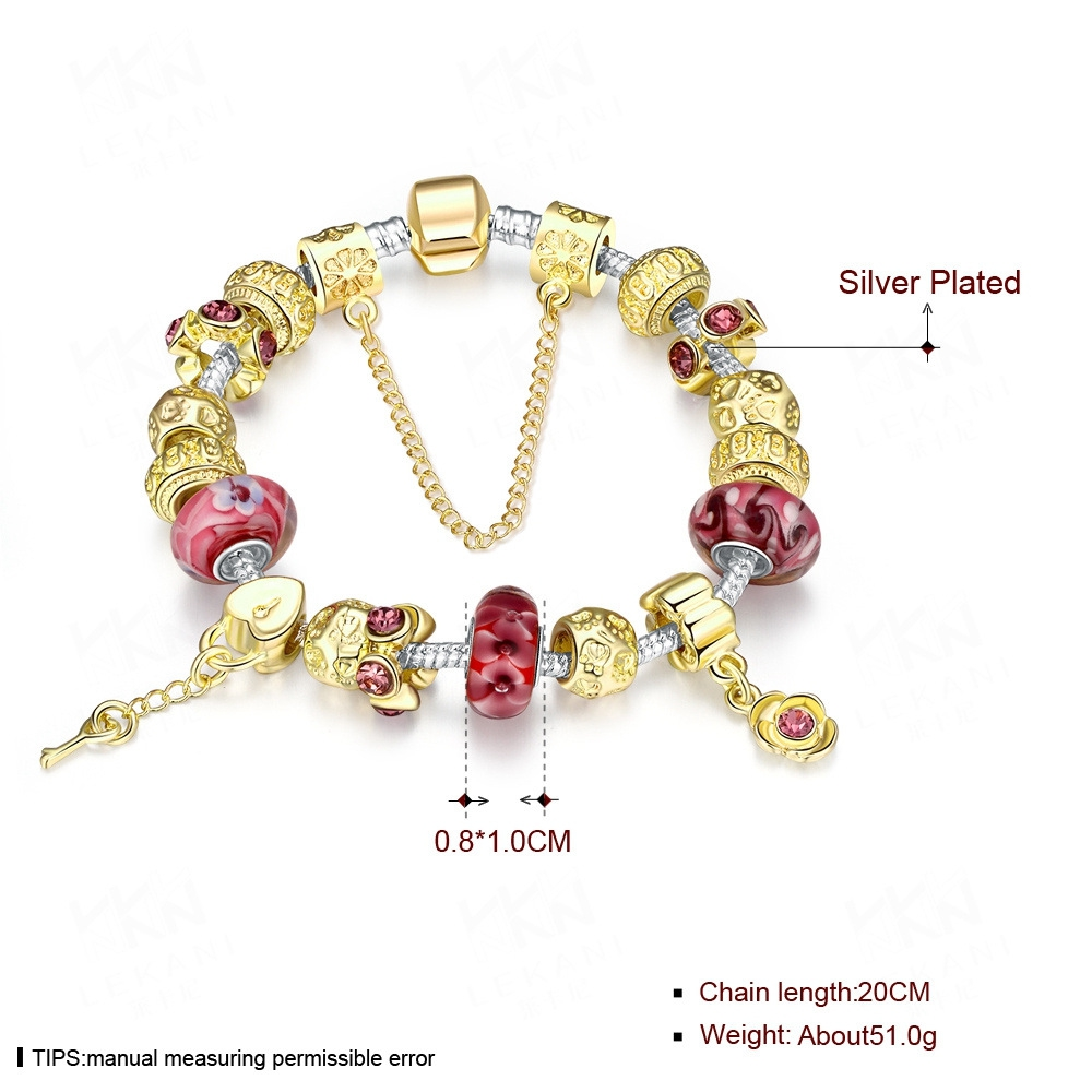 20cm Golden Rose Heart Beaded Glass Bracelet for Women
