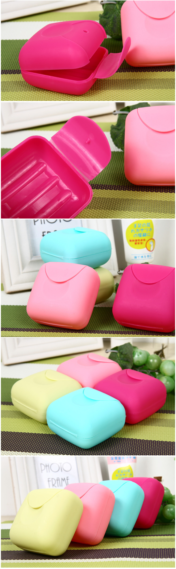 Honana BX- 927 Bathroom Soap Dish Travel Soap Box Dish Plate Holder Container Case Foaming Candy Color Soap Dish