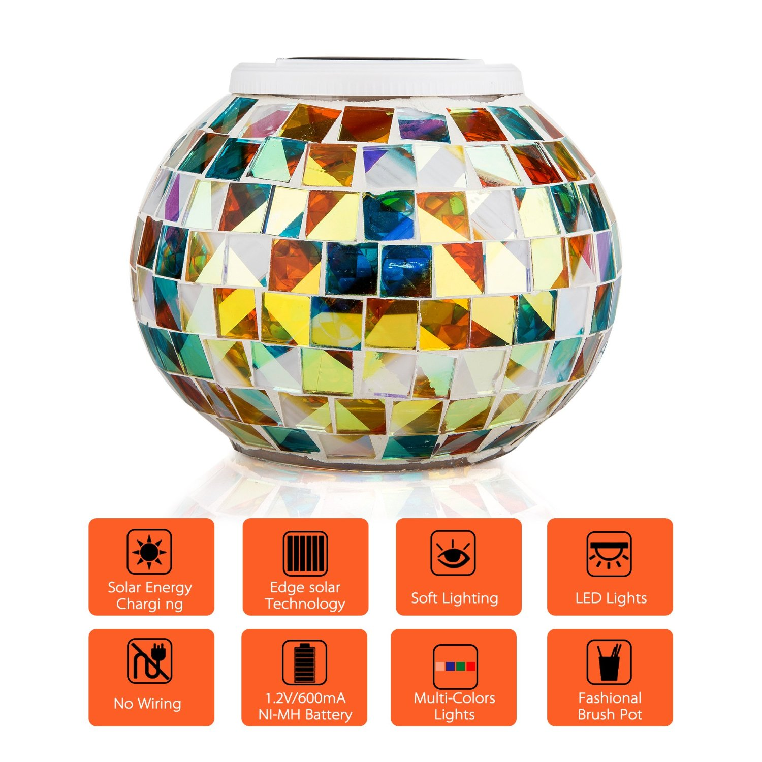Garden Solar Power Mosaic Glass Ball Colorful LED Light Outdoor Waterproof Decoration Lamp